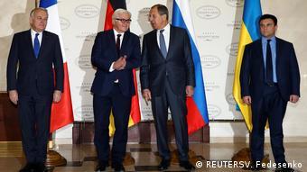 Weißussland Pavlo Klimkin, Sergei Lavrov und Frank-Walter Steinmeier trffen sich in Minsk