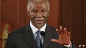 ** FILE ** In this Sept. 14, 2008 file photo, South African President Thabo Mbeki speaks at a press briefing in Pretoria, South Africa. South Africa's ruling party on Saturday, Sept. 20, 2008, called on President Mbeki to resign as head of state. (AP Photo/Denis Farrell, File)