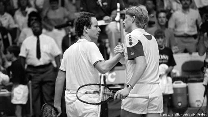 Tennis Boris Becker John McEnroe 1987 in Hartford (picture-alliance/dpa/M. Probst)