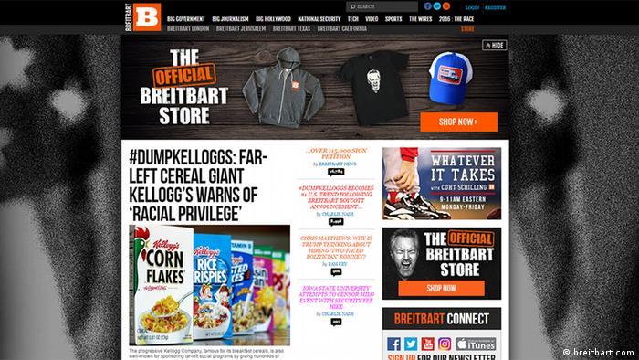 Screenshot breitbart.com - Kellogg's