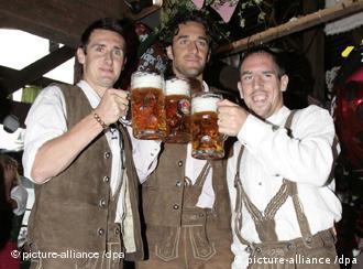 Miroslav Klose, Luca Toni and Franck Ribery at the 2007 Oktoberfest