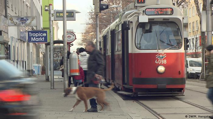 A red and white tram in Vienna, Austria