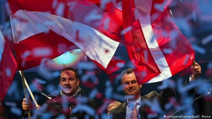 Heinz-Christian Strache and Norbert Hofer wave Austrian flags