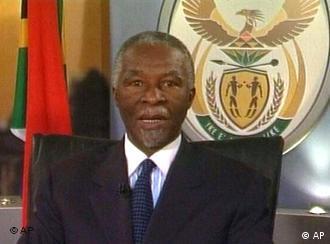 Presiden Afrika Selatan Thabo Mbeki meletakkan jabatan.