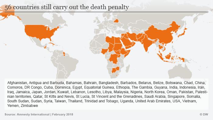 Infografik Todesstrafe weltweit ENGLISCH