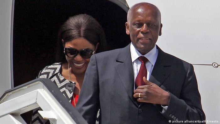 José Eduardo Dos Santos step off a plane