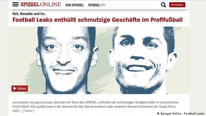 Screenshot Spiegel Online - Football Leaks (Spiegel Online - Football Leaks)