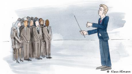 Der Präsident dirigiert eine Menschengruppe (Illustration: Klaus Aßmann)