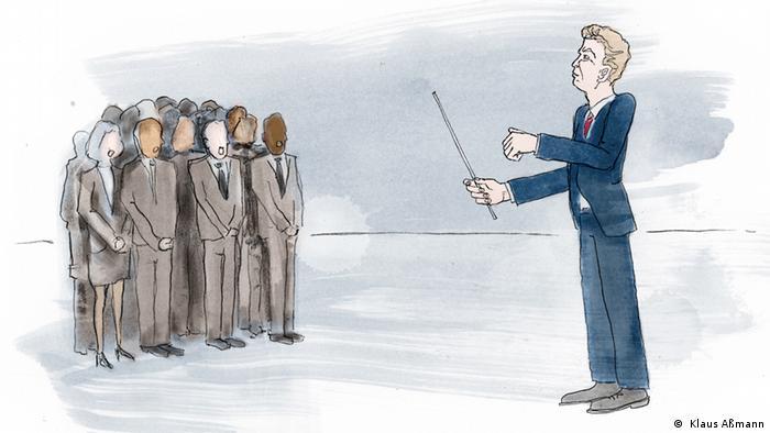 Ilustração mostra homem regendo um grupo de pessoas