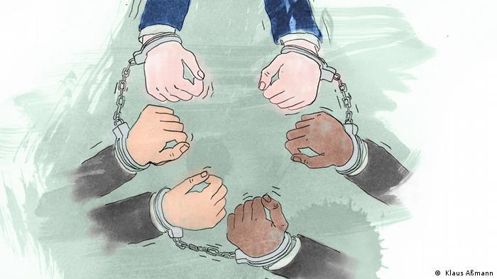 Ilustração mostra seis mãos acorrentadas umas às outras