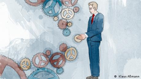 Der Präsident setzt ein Zahnrad ins Getriebe(Illustration: Klaus Aßmann)
