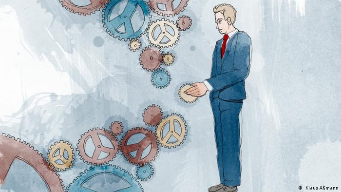 Ilustração mostra homem colocando roda em engrenagem