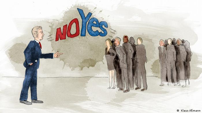 Ilustração mostra homem respondendo a dois grupos de pessoas