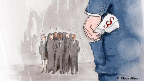 Der Präsident steckt einen Gesetzestext in die Sakkotasche (Illustration: Klaus Aßmann)