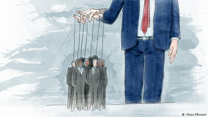 Человек держит за ниточки подвешенных людей