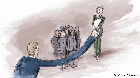 Der Präsident reicht mit einem verlängerten Arm ein Stück Papier an einer Menschengruppe vorbei (Illustration: Klaus Aßmann)