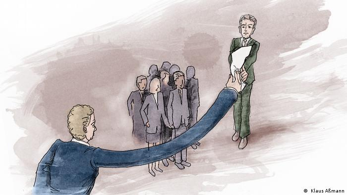 Ilustração mostra homem com longo braço e entregando papel