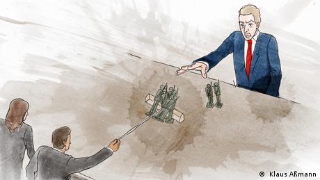 Zwei Menschen des Kongresses nehmen dem Präsidenten Spielzeugsoldaten weg (Illustration: Klaus Aßmann)