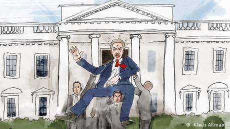 Mehrere Männer tragen den sich wehrenden Präsidenten aus dem Weißen Haus (Illustration: Klaus Aßmann)