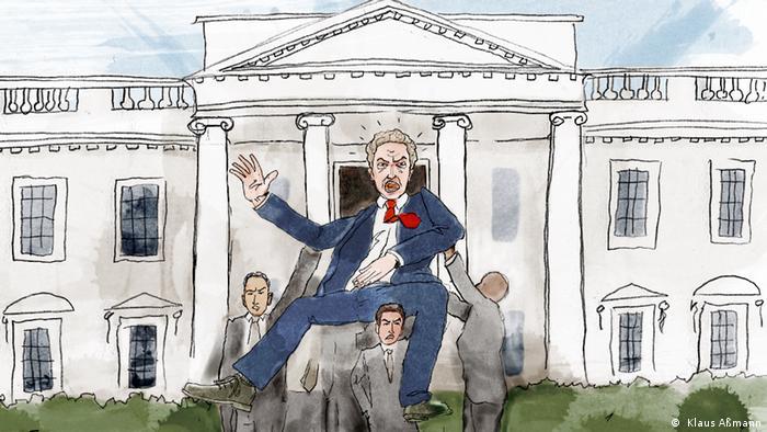 Ilustração mostra pessoas carregando homem de paletó para fora da Casa Branca