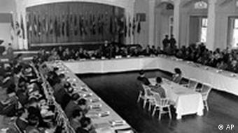 A general view of a plenary session of the United Nations Monetary Conference in Bretton Woods, N.H. on July 4, 1944