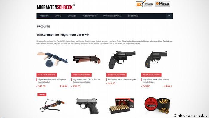Screen shot of the website Migrantenschreck.ru offering weapons and ammunition