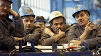 File photo of workers at a meeting at the shipyard in 2008