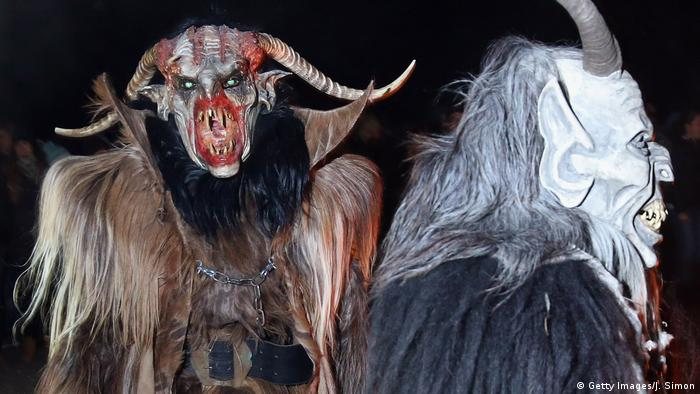 A traditional Krampus is described as a horned, furry monster with hand-carved wooden masks, but this beast-version from Neustift im Stubaital in Austria resembles some figures from recent horror movies.