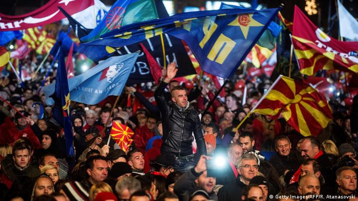 Mazedonien | Kundgebung der Oppositionspartei SDSM in Skopje (Getty Images/AFP/R. Atanasovski)