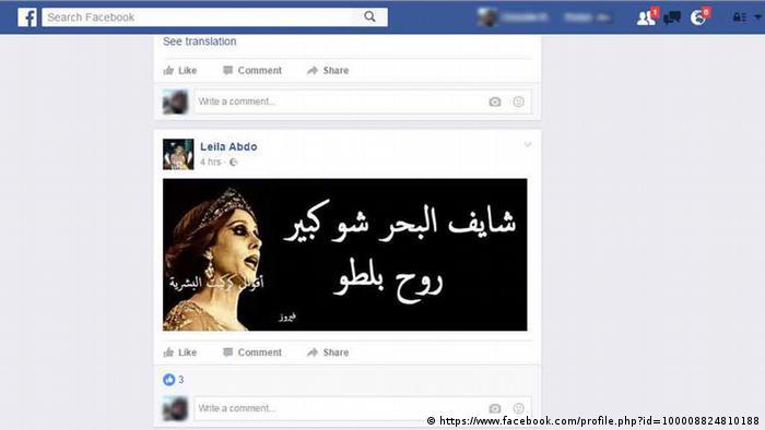 Screenshot Facebook Reaktionen in Libanon zu Hezbollah und Fairouz (https://www.facebook.com/profile.php?id=100008824810188)