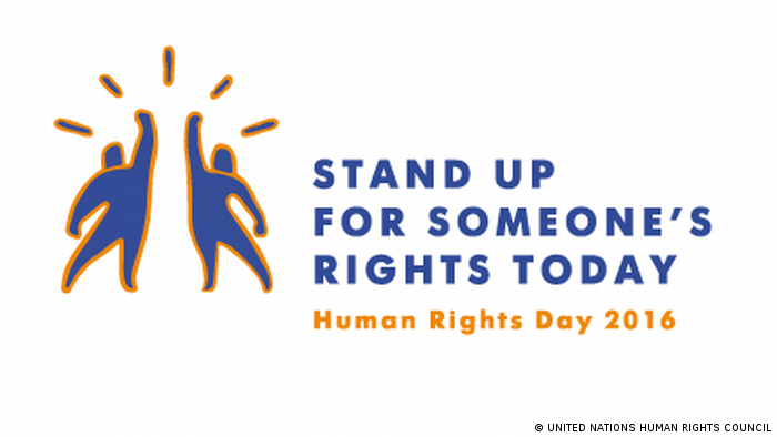 Logo von der Aktion Stand up for someone's rights today (UNITED NATIONS HUMAN RIGHTS COUNCIL)