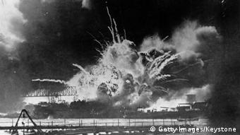 7th December 1941: The USS Shaw exploding during the Japanese attack on the US Pacific fleet at their base in Pearl Harbour (Pearl Harbor) on the island of Oahu, Hawaii