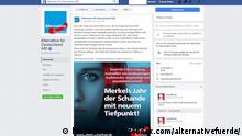 Screenshot Facebook von AfD