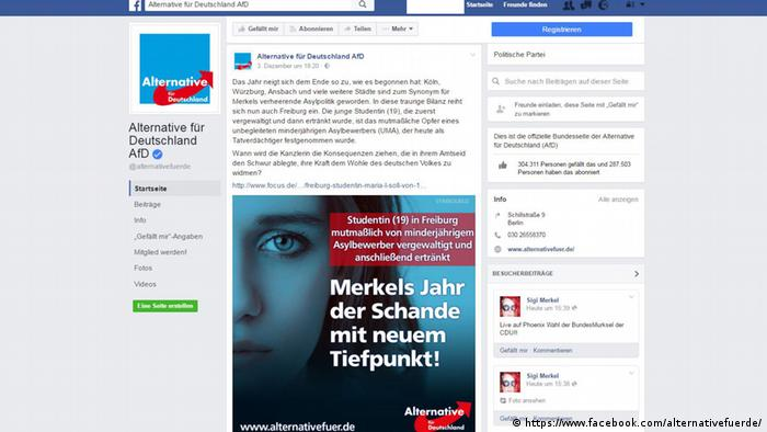 Screenshot of the AfD's Facebook page