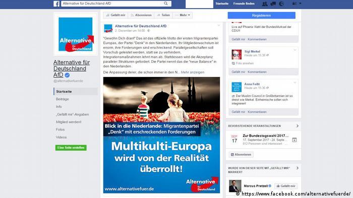 Screenshot Facebook von AfD