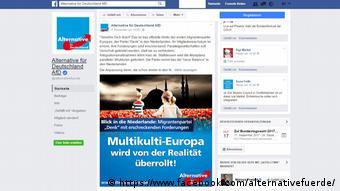 Скриншот страницы партии Альтернатива для Германии в Facebook