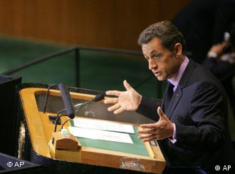 French President Nicolas Sarkozy addresses the UN General Assembly