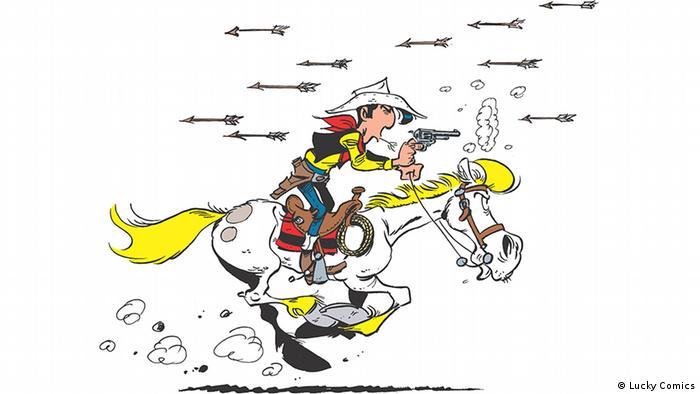 Lucky Luke reitet durch einen Pfeilregen mit seinem Pferd Jolly Jumper.