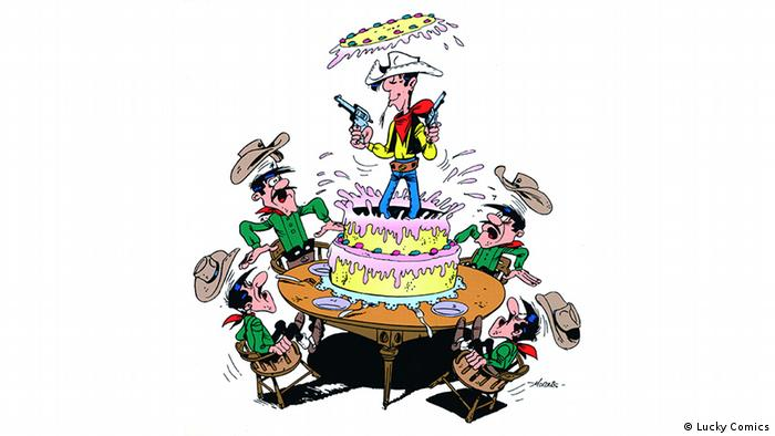 Lucky Luke on top of birthday cake surrounded by Dalton brothers (Lucky Comics)