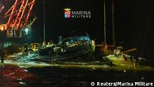 The wreck of a fishing boat that sank in April 2015, drowning hundreds of migrants packed on board is seen in this handout photo provided by Marina Militare, June 29, 2016. REUTERS/Marina Militare/Handout via Reuters ATTENTION EDITORS - THIS PICTURE WAS PROVIDED BY A THIRD PARTY. FOR EDITORIAL USE ONLY. TPX IMAGES OF THE DAY