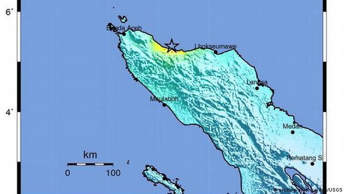 Indonesien Karte Erdbeben Sumatra Banda Aceh (picture-alliance/dpa/USGS)