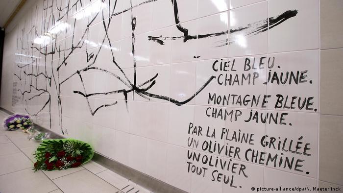 Brüssel Gedenkort Terroranschläge Maelbeek UBahn Wandbild