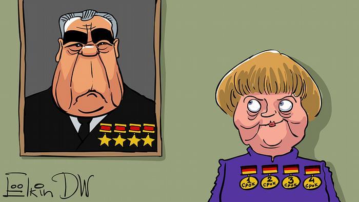 карикатура, Меркель рядом с портретом Брежнева
