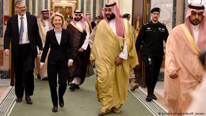 Ursula von der Leyen and Mohammen bin Salman al-Saud