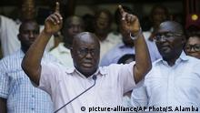 08.12.2016+++Nana Akufo-Addo opposition presidential candidate for the New Patriotic Party, gestures to his supporters during a press conference on election in his compound in Accra Ghana, Thursday, Dec. 8, 2016. The election is largely between two veteran politicians, incumbent President John Dramani Mahama and main opposition leader Nana Akufo-Addo. (AP Photo/Sunday Alamba) |