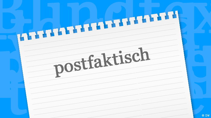A piece of paper with the word of the year 2016 postfaktisch