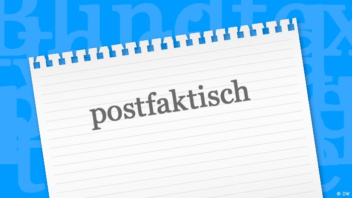Grafik: Zettel mit dem Wort des Jahres 2016 postfaktisch (DW)