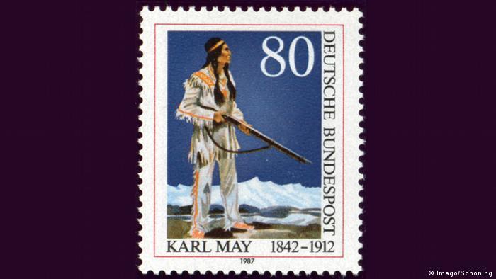 Briefmarke Karl May mit Winnetou Pierre Brice (Foto: Imago/Schöning)