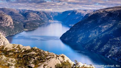 Norway aerial view over a fjord