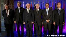 Boris Johnson, John Kerry und Frank-Walter Steinmeier (v.l.) treffen die Außenminister von Frankreich, der Türkei und weitere Verbündete der Anti-Assad-Koalition
